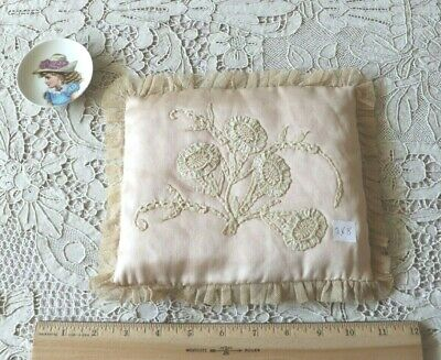 "French Antique Handmade Lace on Pale Pink Satin Silk Pillow~Bridal~L-7"" X W-8"""