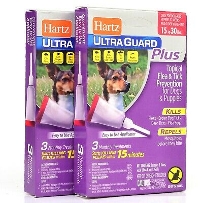 2 Pack- Hartz Flea and Tick Drops UltraGuard Plus For Dogs and Puppies 15-30 lbs