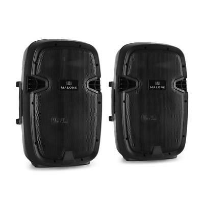 """New Malone Active Pa Speaker Pair 2X 400W 10"""" Max Speakers Mic + Line In - Black"""