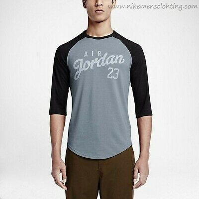 a05704577d98ae Nike Men s Size XXL Air Jordan 3 QTR Sleeve RAGLAN T-Shirt Top Black Grey
