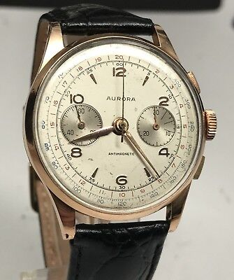 Vintage Chronographe Suisse Aurora 18k Rose Gold Chronograph Manual Wind 38mm