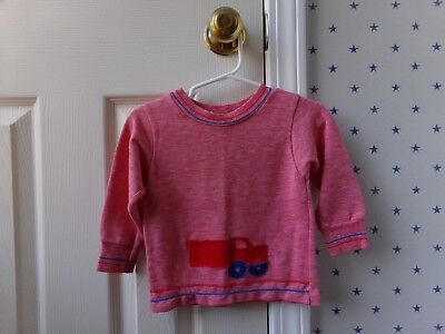 Vtg Retro Boys Carters Train Red Blue Long Sleeve Top Shirt Size 24 Months 2T