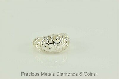 Sterling Silver 10mm Scrolled Swirl Open Face Dome Band Ring 925 NV Sz: 5.5