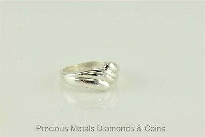 Sterling Silver Puffy Swirl Scalloped Bypass Ring BOMA 925 Sz: 5.5