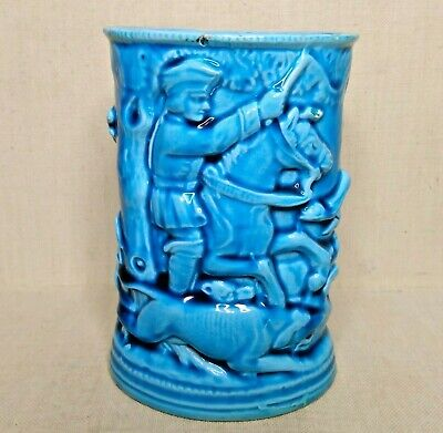 Vintage European turquoise ceramic vase. 20th century. There stamped.