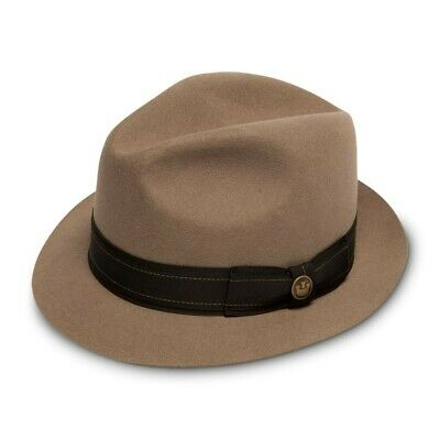 213bdb5edb03b Rare XL Tan Goorin Bros Butterfingers Fedora Trilby  125 X-Large Putty USA  Made