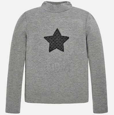 New Girls Mayoral Mock Neck Long Sleeved T-Shirt With Studs , Age 8 Years, (7000