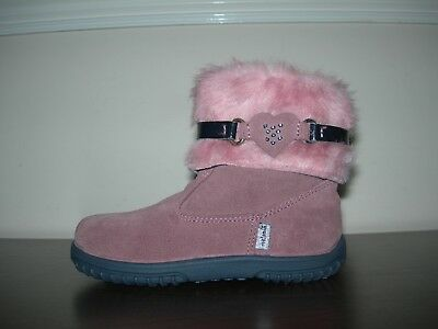 Melania Baby Girl Infant Boots Lilac Leather Pink Faux Fur Eu 24- 25 / Uk 7- 7.5