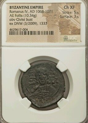 Byzantine Empire Romanus IV AE Follis NGC Choice XF 5/3 Ancient Coin