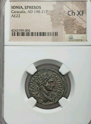 Ionia, Ephesus Caracalla AE23 NGC Choice XF Ancient Coin Greek
