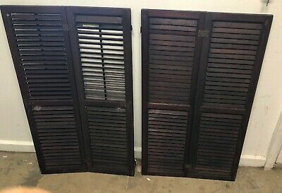 "Vintage Pair of Louvered Window Shutters Architectural Salvage 39x11"" Weddings"
