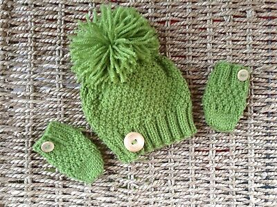 Hand Knitted Brand New Unisex  Moss Green Newborn Pom Pom Hat And Mitts Set
