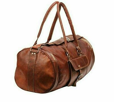 f59838e25554 Vintage Genuine Leather Holdall Travel Weekend Luxurious Sports Duffel Bag.