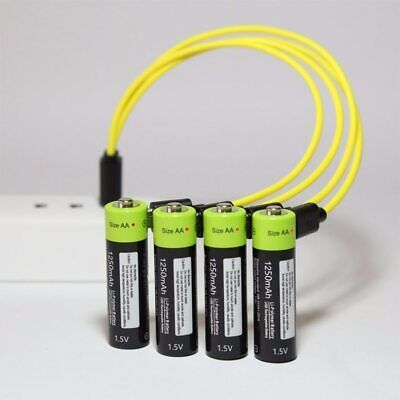 USB Charging Cable + 1.5V 1250mAh Universal Rechargeable Lithium Batteries