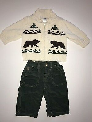 Gap Baby Boy Green Holiday Outfit Ivory Sweater Pants 3-6 Months EUC Christmas