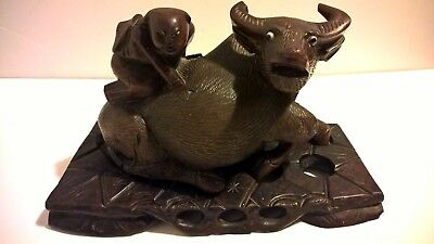 Antique Japanese hand carved boxwood Meiji water buffalo figurine on stand Japan
