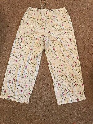 787be58693 Victoria s Secret Country Large Pajama Lounge Pants White Pink Floral  Drawstring