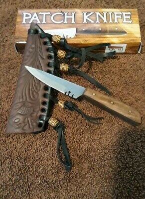 """WOW"" Full Tang Western Style Fixed Blade Patch Knife Leather Sheath NEW 203296"