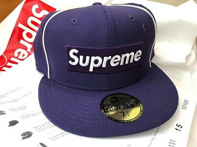 16fbc28baf4 2017 Supreme NYC Box Logo Piping New Era Hat Cap Purple size 7 1 2