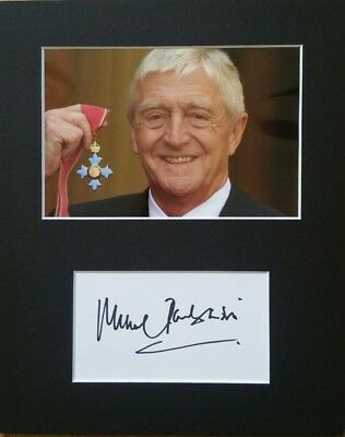 Sir Michael Parkinson CBE, 'Broadcaster' hand signed mounted autograph.