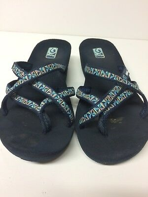 10a507c50 Womens Teva Mush Mandalyn Wedge Mosaic Blue Strappy Sandals Flip Flops Sz 8