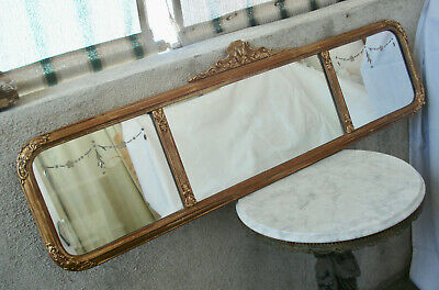 Antique Victorian ART DECO Gold Gesso Frame w/Etched 3-Panel Wall Hanging MIRROR