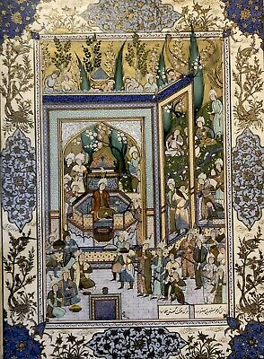 Antique Islamic Persian Miniature Painting Gold Illuminated Listed Artist Signed