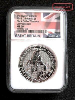 2018 G. Britain Black Bull Of Clarence 2 Oz. Silver Coin - Ngc Ms69 - Flag Label