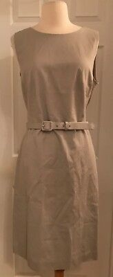 a2977d4e J.crew Belted Sheath Dress In Two-Way Stretch Cotton Size 4 Cloud Grey