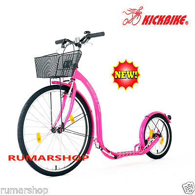 New Nieuw Original Kickbike City G4 Pink + Basket Scooter Step