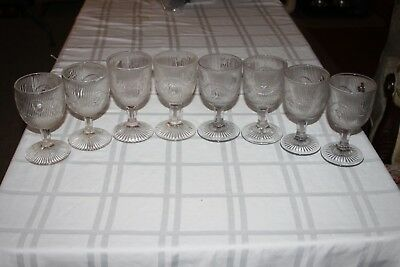LOT of 8 McKee Bellflower Vintage Pressed Glass Water Goblet Rib Pattern 4 Pair