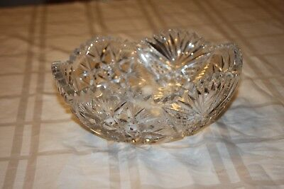 "Abp Heavy Cut Glass Round Bowl~ Stars~Fans~Brilliant 8"" Clear Antique Bowl"