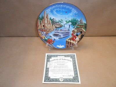"""Walt Disney World 25th Anniversary """"Frontierland"""" Plate With Stand & COA"""