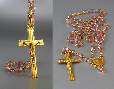 Vintage French Art Deco Rosary, Gilded Metal Crucifix Medal, Pale Amethyst Beads