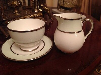 Wedgwood W4163 vintage china cake plate sugar bowl creamer
