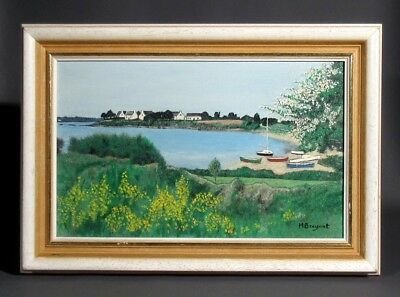 VintageFrench Oil Painting, Seascape Boats Spring Landscape in Brittany, Signed