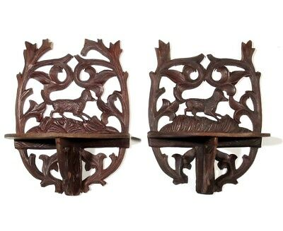 Pair of Antique French Black Forest Style Shelf Ornament, HandCarved Wood,Dogs
