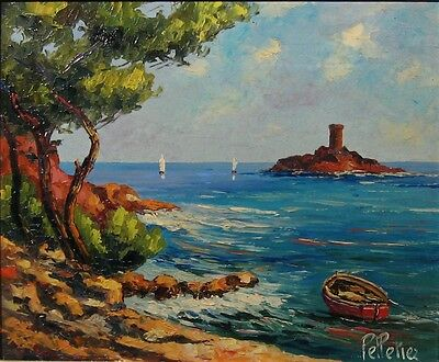 Vintage French Impasto Oil Painting, Beach, Provence, Ile d'Or, Signed Pelletier