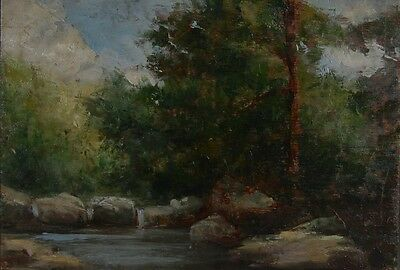 "Antique French Oil Painting, 19th century, Barbizon School, ""Forest Stream"""