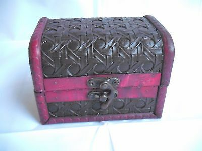 Wooden Treasure Chest Storage Box - Trinkets Jewellery - Leather & Metal Trim 5""
