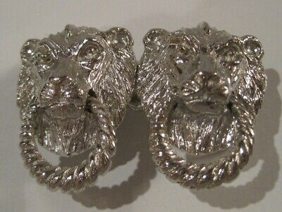 MIMI Di N - 1974 Silver Colored DOUBLE LION HEAD Belt Buckle