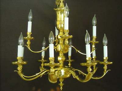 Reduced! Stunning Solid Brass-Gold Plated 12 Lt.chandelier-Spain-Serviced-Mint!!