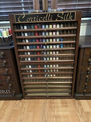 ESTATE HUGE ANTIQUE SPOOL SEWING Corticelli Silk CABINET THREAD