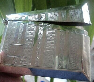 Attractive Sterling Silver Art Deco Card Case -  h/m Chester 1930 Walker & Hall