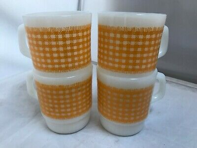 Vintage Anchor Hocking Fire King Specking Checkered Yellow Mugs Lot of 4