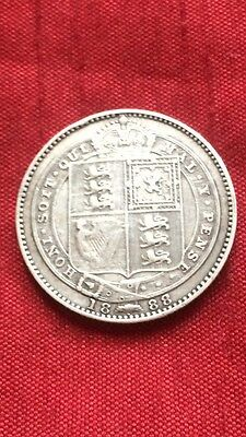 Queen Victoria 1888 Shilling Small Jubilee Head .925 Sterling Silver Coin