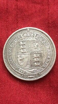 Queen Victoria 1887 Shilling Small Jubilee Head .925 Sterling Silver Coin