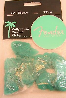 Fender 351 California Clears Guitar Picks, SURF GREEN, THIN 144-Pack (1 Gross)
