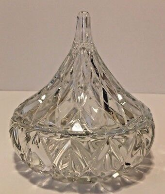Hershey Kiss Shaped Clear Glass Covered Candy Dish/Trinket