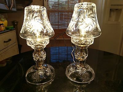 Pair Of Stunning Antique Cut Glass Table or Mantel Lamps